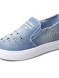 Women's Shoes Denim Fall Comfort Loafers & Slip-Ons Flat Heel Round Toe Beading For Casual Light Blue