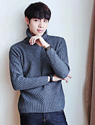 Недорогие -Муж. Изысканный и современный Длинный рукав Пуловер - Однотонный, Чистый цвет Хомут