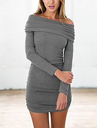 Women's Going out Club Sexy Street chic Bodycon Sweater Dress,Solid Boat Neck Mini Long Sleeves Polyester Spring Fall Mid Rise