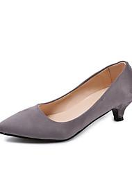 preiswerte -Damen High Heels Komfort Wildleder Frühling Normal Walking Komfort Schleife Stöckelabsatz Schwarz Grau Rot 5 - 7 cm