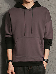 Men's Daily Plus Size Casual Hoodie Solid Hooded Micro-elastic Cotton Polyester Long Sleeve Winter Fall