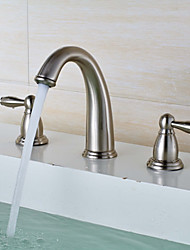 Widespread Widespread Brass Valve Two Handles Three Holes Nickel Brushed , Bathroom Sink Faucet