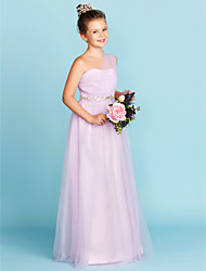 A-Line Princess One Shoulder Floor Length Tulle Junior Bridesmaid Dress with Beading Sash / Ribbon Criss Cross by LAN TING BRIDE®