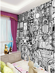 cheap -3D Special Design Geometry Home Decoration Modern Wall Covering, Canvas Material Adhesive required Mural, Room Wallcovering
