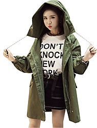 Women's Casual/Daily Simple Spring Fall Trench Coat,Solid Hooded Long Sleeve Long Cotton Rivet