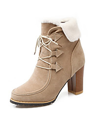cheap -Women's Shoes Nubuck leather Fall Winter Comfort Novelty Bootie Boots Chunky Heel Pointed Toe Lace-up For Office & Career Dress Almond