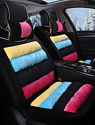 cheap -Rainbow Striped Plush Car Seat Cushion Material Winter Seat Cover Surrounded By AFive Seat-Black