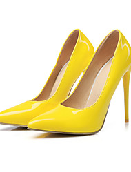 preiswerte -Damen Schuhe PU Frühling Herbst Komfort Neuheit High Heels Stöckelabsatz Spitze Zehe Für Hochzeit Party & Festivität Schwarz Gelb Rot