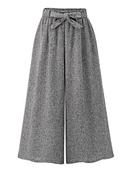 cheap -Women's Loose Loose Wide Leg Pants - Solid, Bow High Rise