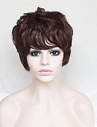 abordables -Pelucas sintéticas Recto / Ondulado Natural Corte asimétrico / Con flequillo Pelo sintético Entradas Naturales Marrón Peluca Mujer Corta Sin Tapa