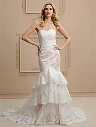Sereia Sem Alças Cauda Corte Renda Tule Vestido de casamento com Apliques Em Camadas de LAN TING BRIDE®