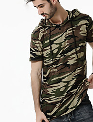 cheap -Men's Daily Plus Size Street chic Summer Fall T-shirt,Camouflage Hooded Short Sleeves Cotton Spandex Medium