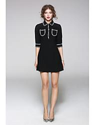 JOJO HANS Women's Going out Casual/Daily Sheath DressSolid Print Round Neck Knee-length Sleeveless Polyester Summer Mid Rise Micro-elastic Medium