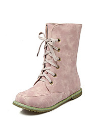 cheap -Women's Shoes Nubuck leather Fall Winter Comfort Novelty Fashion Boots Boots Flat Heel Round Toe Mid-Calf Boots Lace-up For Office &