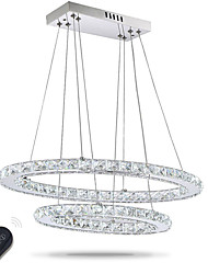 cheap -Dimmable LED Crystal Oval Pendant Lights Lamps Fixtures Crystalline Light 2 Ring Indoor Cristal Lighting Modern Lustre Lamps with Remote Control