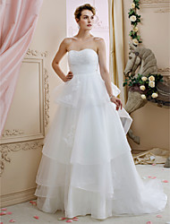 A-Line Princess Sweetheart Court Train Tulle Wedding Dress with Appliques Flower(s) Ruching Tiered by LAN TING BRIDE®