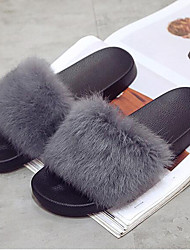 Women's Shoes Fur Fall Winter Fur Lining Comfort Slippers & Flip-Flops Flat Heel Open Toe For Casual Wine Green Gray Black