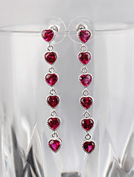 Women's Drop Earrings Synthetic Ruby Tassel Fashion Stainless Steel Silver Plated Heart Jewelry For Party Gift