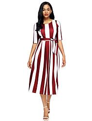 Ample Robe Femme Soirée Vacances Mignon,Rayé Col Arrondi Midi Demi Manches Polyester Spandex Automne Taille Haute Elastique Moyen