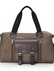 cheap -Men's Bags Canvas Tote Pocket Zipper for Casual Outdoor All Seasons Black Coffee Brown