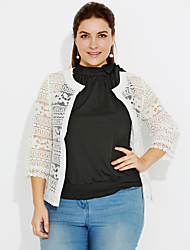 cheap -Women's Daily Simple Casual Summer Fall Jacket,Solid Round Neck ¾ Sleeve Short Cotton Lace