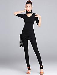 Danse latine Tenue Femme Spectacle Modal Dentelle Dentelle 2 Pièces La moitié des manches Taille moyenne Hauts Pantalon