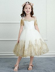 cheap -A-Line Tea Length Flower Girl Dress - Satin Tulle Short Sleeves Spaghetti Straps with Beading Appliques by LAN TING BRIDE®
