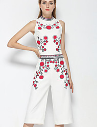 Women's Casual/Daily Simple Summer T-shirt Pant Suits,Print Round Neck Sleeveless Micro-elastic