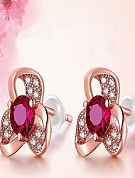 abordables -Femme Fleur Zircon cubique Argent sterling / Zircon Boucles d'oreille goujon - Elégant / Mode Or Rose Des boucles d'oreilles Pour