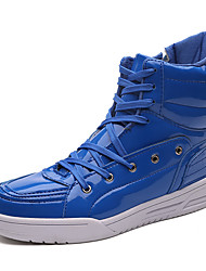 cheap -Men's Shoes PU Fall Winter Comfort Boots Zipper Lace-up For Casual Blue Red Black White