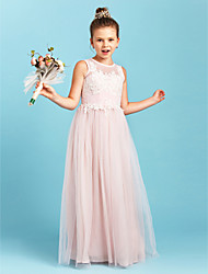 cheap -A-Line / Princess Jewel Neck Floor Length Tulle Junior Bridesmaid Dress with Appliques / Pleats by LAN TING BRIDE® / Wedding Party / See Through