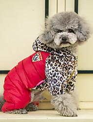 preiswerte -Hund Mäntel Pullover Overall Daunenjacken Hundekleidung Lässig/Alltäglich warm halten Sport Leopard Orange Gelb Rot Kostüm Für Haustiere