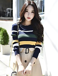 preiswerte -Damen Standard Pullover-Ausgehen Lässig/Alltäglich Retro Einfach Niedlich Gestreift Einfarbig Rundhalsausschnitt Langarm Polyester Nylon