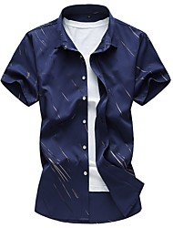 Men's Plus Size Casual/Daily Simple All Seasons Shirt,Print Square Neck Short Sleeves Cotton Polyester Medium