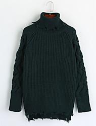 preiswerte -Damen Lang Pullover-Lässig/Alltäglich Einfach Solide Rollkragen Langarm Acryl Winter Herbst Mittel Mikro-elastisch