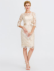 cheap -Sheath / Column Illusion Neckline Knee Length Lace Mother of the Bride Dress with Bow(s) Sash / Ribbon by LAN TING BRIDE®