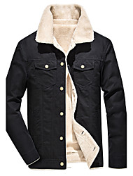 cheap -Men's Daily Plus Size Punk & Gothic Winter Fall Jacket,Solid Stand Long Sleeve Regular Cotton