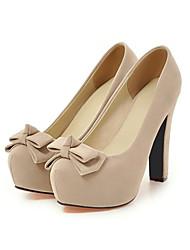 preiswerte -Damen Schuhe Nubukleder Frühling Herbst Komfort Neuheit High Heels Blockabsatz Runde Zehe Schleife Für Kleid Schwarz Beige Rot Blau