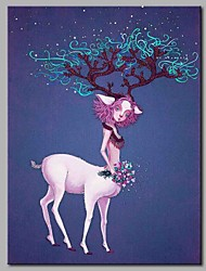 cheap -Hand-Painted Animals Vertical, Artistic Nature Inspired Birthday Modern/Contemporary Office/Business Christmas New Year's Canvas Print