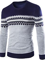 preiswerte -Herrn Street Schick Langarm Pullover - Gestreift Einfarbig Rundhalsausschnitt