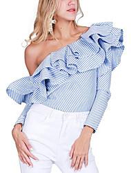 Недорогие -Для женщин На выход Блуза На одно плечо,Секси Полоски Длинный рукав,Полиэстер