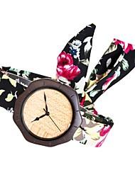 Women's Fashion Watch Wood Watch Japanese Quartz Wooden Fabric Band Charm Unique Creative Elegant Black Rose