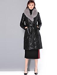 Feminino Casaco de Pêlo Para Noite Casual Simples Vintage Sofisticado Inverno,Sólido Padrão Pêlo de Raposa Pele de Carneito Decote V
