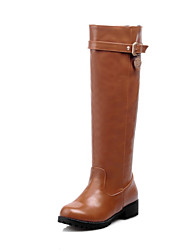 Women's Shoes Leatherette Winter Comfort Fashion Boots Boots Low Heel Round Toe Knee High Boots For Casual Dress Brown Black