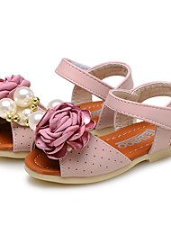 Baby Shoes Leatherette Summer Comfort Flower Girl Shoes Sandals Magic Tape Flower For Casual Dress Light Blue Blushing Pink Beige