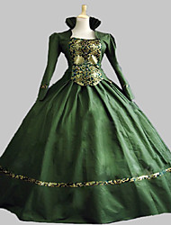cheap -Victorian Rococo Female One-Piece/Dress Green Cosplay Satin Sleeveless Floor Length