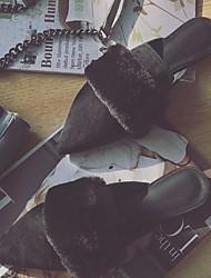 Femme Chaussures PU de microfibre synthétique Eté Automne Confort Moccasin Sabot & Mules Gros Talon Bout pointu Pom pom Pour Décontracté