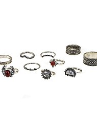 cheap -Women's Rings Set Knuckle Ring Imitation Ruby Bohemian Alloy Jewelry For Casual