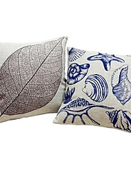 2 pcs Cotton/Linen Pillow case Bed Pillow Body Pillow Travel Pillow Sofa Cushion Pillow Cover,Lines / Waves Leaf Artwork