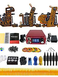 Komplettes Tattoo Kit 3 x Gusseisen-Tattoomaschine für Umrißlinien und Schattierung 3 Tattoo-Maschinen Tinten geliefert Getrennt